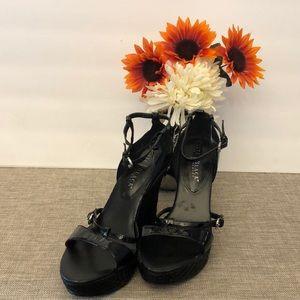 White HouseBlack Market Ankle Strap Wedge Heels 8